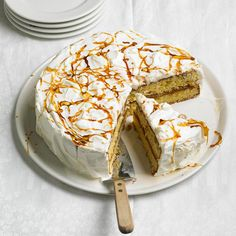 A sweet whipped cream frosting and caramelized sugar drizzle tops this Dulce de Leche cake. Get more desserts: http://www.bhg.com/recipes/desserts/pies/make-ahead-pies-tarts/?socsrc=bhgpin120712dulcecake
