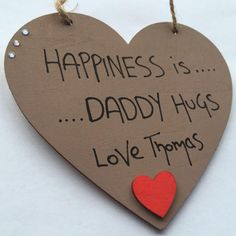 Happiness is Daddy HUG Personalised Brown Heart - Red Heart - Little Miss Scrabbled