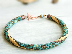 Turquoise ivory necklace colorful art necklace by Kvalwasser, $115.00