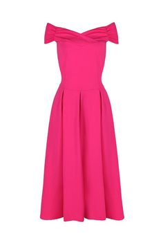 Hot Pink Crossover Bardot 50s Swing Dress