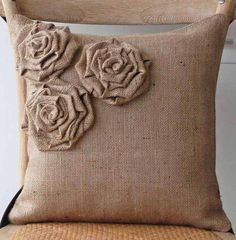 simple rustic burlap pillow with rosettes