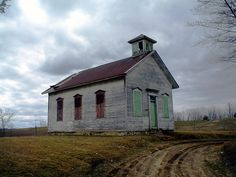A one room schoolhouse at the corner of 31 Mile Road and Mound Road in Washington Township. The area was settled by Ellijah Thorington in 1819. The school has been vacant since school district consolidation in the mid-1950s.
