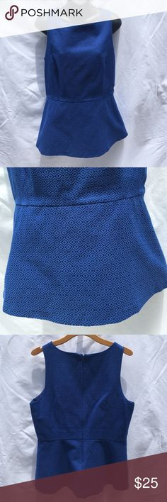 """{Banana Republic} Blue Peplum Top Banana Republic • Size 14 • Fitted Blue Peplum Top. Has a zipper down the back (hidden) that goes about 3/4 of the way down for easy in and out. Fitted at the waist, the peplum ha a slight flare to the bottom. It's about 26"""" in length from shoulder to bottom. Bust is about 20"""" across lying flat with darts in the front to accommodate the chest. Banana Republic Tops"""