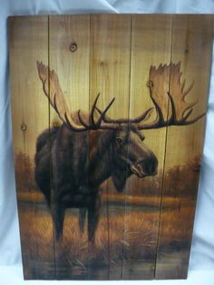 Lodge Cabin Rustic Decor Moose Wood Plank Picture Hanging Wall Art | eBay