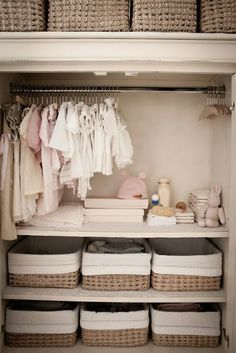 Find the best Nursery Closet organization ideas! Get the top storage and / or organization ideas to make your nursery clutter free and tidy. Unique and creative Nursery Closet storage ideas Baby Nursery Closet, Baby Bedroom, Nursery Room, Nursery Ideas, Room Baby, Nursery Armoire, Nursery Decor, Nursery Layout, Girl Nursery