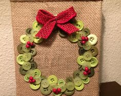 Christmas burlap button wreath art by TheBlueBootTX on Etsy
