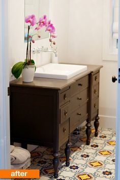 Before & After: Megan's Modern & Mexican Tile Small Bathroom Mix | Apartment Therapy Tierra y fuego mexican tiles.  vintage cabinet. modern sink and faucet.