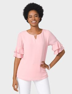 Tiered Ruffle Pearl Keyhole Blouse (original price, $34.00) available at #Dressbarn
