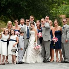 @Laura Jayson Beth , the flower girl dresses would be cute with a navy belt! And notice the girls have nude colored shoes on and the groomsmen are in gray with navy ties