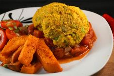 squash falafelRoasted Butternut Squash Falafel with a Spicy Roasted Cherry Tomato Marinara Sauce & Sweet Potato Wedges