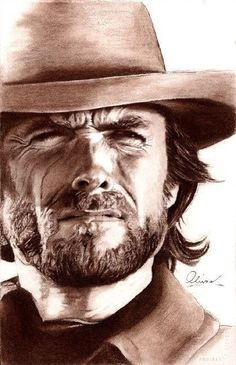 Clint Eastwood...hand drawn | First pinned to Celebrity Art board here... http://www.pinterest.com/fairbanksgrafix/celebrity-art/ #Drawing #Art #CelebrityArt