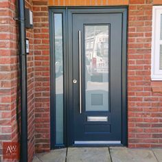 We supply and install high-quality composite doors across Stockport, Manchester, and Cheshire. Modern Exterior Doors, Front Door Steps, Front Doors Uk, White Exterior Houses, Composite Front Doors Uk, Front Porch Design