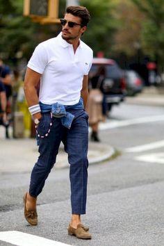 Best polo shirts for men men's fashion летний мужской стиль, White Polo Shirt Mens, White Polo Shirt Outfit, Blue Trousers Outfit, Best Polo Shirts, Stylish Men, Men Casual, Casual Shirt, Jeans Polo, Plaid Pants