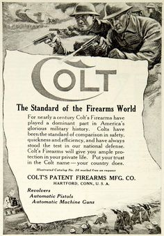 1918 Ad Colt Patent Firearms Revolvers Pistols Machine Guns Hartford Connecticut