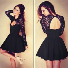 I am so happy to find the Hollow See Through Black Lace Stitching Pleated Dresses from ByGoods.com. I like it <3!Do you like it,too?