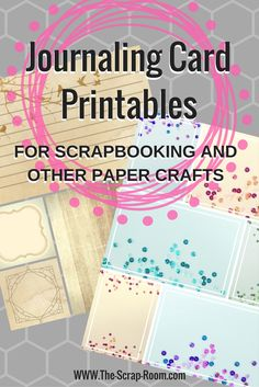 Instant download Journaling cards that you can use for your traditional or digital crafting! Great for scrapbooking, card making, or other DIY projects! Digital versions available as well as FREE PDF PRINTABLES! Free tutorials available -- learn the basics of working with PNG, JPG, SVG and PDF in our tutorial library!