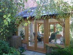 oak framed barbeque grill house