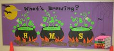 Witch's Brew - Halloween Bulletin Board Inspiration Love this Halloween bulletin board. Depending on your school system/principal, Halloween bulletin boards may be frowned upon though. October Bulletin Boards, Bulletin Board Paper, Halloween Bulletin Boards, Preschool Bulletin Boards, Bulletin Board Display, Classroom Bulletin Boards, Classroom Decor, School Classroom, Classroom Activities