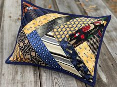 What do y'all think of this new style of Necktie Memory Pillow? I was inspired by QAYG friendship braid tutorial to… Tie Crafts, Fabric Crafts, Sewing Crafts, Sewing Projects, Memory Pillow From Shirt, Memory Pillows, Memory Quilts, Necktie Quilt, Shirt Quilt