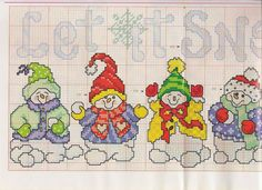 let it snow Christmas Cross, Christmas Snowman, Xmas, Holidays And Events, Perler Beads, Cross Stitching, Cross Stitch Patterns, Sewing, Crafts