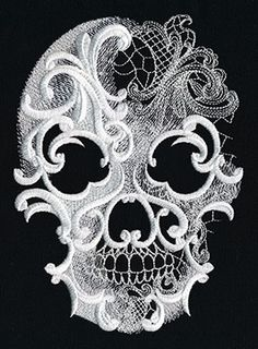 This would make a gorgeous applique on the sugar quilt I am going to make...Ghost Baroque - Skull design (UT8601) from UrbanThreads.com