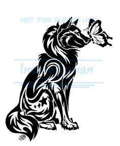 Wolf and Butterfly Tattoo WIP by InsaneRoman.deviantart.com on @deviantART