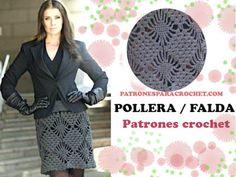 Patrones de Falda o Pollera a Crochet 💗 Filet Crochet, Crochet Granny, Crochet Hats, Summer Patterns, Lace Skirt, Lily, Elsa, Boho, Html