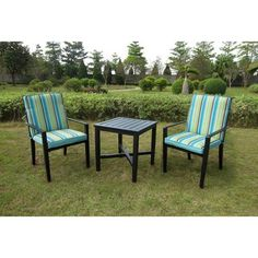 Mainstays Rockview Outdoor Bistro Set, Black, Seats 2 - This is easy to use and it works just fine.When you need new garden and outdoor furniture, you'r 3 Piece Patio Set, 3 Piece Bistro Set, Patio Furniture Sets, Garden Furniture, Iron Furniture, Mirrored Furniture, Furniture Design, Patio Table, A Table