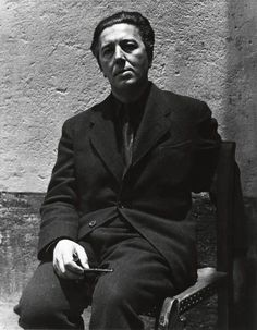 "André Breton, Mexico, 1938 -by Manuel Álvarez Bravo. Breton said about Bravo: ""He has shown us everything that is poetic in Mexico. Where Manuel Álvarez Bravo has stopped to photograph a light, a sign, a silence, it is not only where Mexico's heart beats, but also where the artist has been able to feel, with a unique vision, the totally objective value of his emotion."""