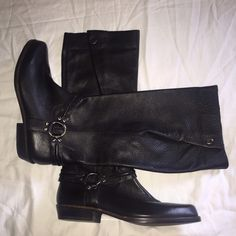 """NWOT Franco Sarto Knee High Leather Boots NWOT Franco Sarto Knee High Leather Boots in size 9.  Resemble cowboy boots, they have a cool foldover around the calf which is why I bought them (salesman at Nordstrom said they were good for wider calves & he was right, unbuttoned they are about 16"""" across).  Run narrow in foot though & slightly small - would fit an 8.5 better I think so that's how I am listing.  Gorgeous soft leather, pointed toe & never worn, I probably tried on 10 times trying…"""