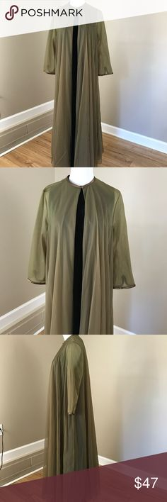 """Vintage Olive Green Sheer Robe Night Gown Lingerie Vintage Olive Green Sheer Robe Night Gown Lingerie. Looks beautiful over dresses. Single neck button. Open front. Short sleeve. 56"""" long. Very good condition. Vintage Intimates & Sleepwear Robes"""
