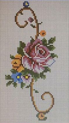 This Pin was discovered by Özn Cross Stitch Rose, Cross Stitch Borders, Cross Stitch Flowers, Cross Stitching, Cross Stitch Patterns, Fabric Roses Diy, Crochet Baby Jacket, Bargello, Canvas Patterns