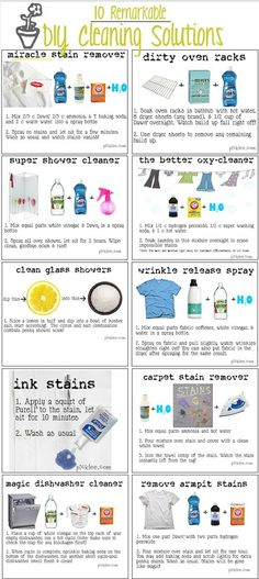 10 remarkable DIY cleaning solutions: miracle stain remover, dirty oven racks, super shower cleaner, the better oxy-cleaner, clean glass showers. Household Cleaners, Diy Cleaners, Cleaners Homemade, Household Tips, Household Products, Homemade Oven Cleaner, Homemade Jewelry Cleaner, Steam Cleaners, Diy Products