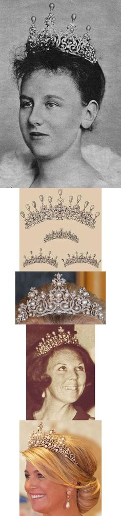 The Württemberg Ornate Pearl Tiara. It was one of the wedding gifts given to Princess Sophie of Württemberg when she married the future King Willem III of the Netherlands in 1839. The tiara features an intricate design of diamonds studded with round pearls and topped by detachable drop pearls. And it can be  worn some combination.