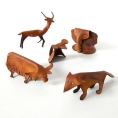 Rare leather animals Deru era mid century modern