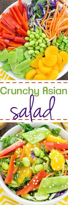 This Crunchy Asian Salad is a flavor explosion in your mouth with red peppers, carrots, snow peas, edamame, and sweet oranges nestled on a kale broccoli mixture drizzled with a sesame ginger dressing.