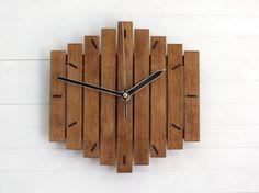 Wood Wall Clock Romb I Wooden Clock Geometric Clock by Paladim Brown Wall Clocks, Best Wall Clocks, Wall Clock Wooden, Rustic Wall Clocks, Kitchen Wall Clocks, Unique Wall Clocks, Wood Clocks, Rustic Walls, Wooden Walls