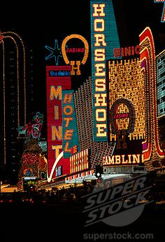 Stock Photo #22-412, Neon signs of hotels and casinos lit up at night ...
