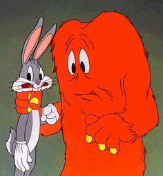 Gossamer and Bugs Bunny animated gif