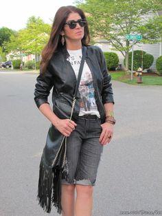 Look Do Dia Bermuda Jeans+Jaqueta De Couro (3)