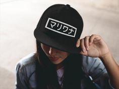 Marijuana Hat Weed Hat in Japanese Katana Snapback Hat by TokyoFetish