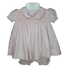 Marie (Pink) - Hand-smocked top with hand embroidery (soft cotton lining to inside of smocking), Button fastening at back. Available in sizes and months. Smocking, Hand Embroidery, Ruffle Blouse, Button, Children, Pink, Tops, Women, Fashion