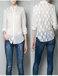 blusas de chifon con encaje atrás