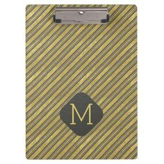 Charcoal Gray and Faux Gold Foil Stripes Clipboard - monogram gifts unique design style monogrammed diy cyo customize