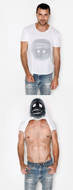 black and white monster screen print shirt. monster is printed inside shirt, upside down, when pulled over head, monster face becomes a mask. 100% cotton durable rib neckband / short sleeved t-shirt.