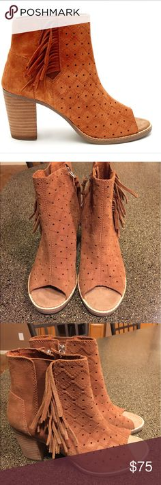 NEW TOMS Majorca Perforated Peep Toe Fringe Bootie NEW TOMS Majorca Perforated Peep Toe Fringe Booties in Cinnamon Suede. Size 6.5. These are brand new and never worn. No imperfections! TOMS Shoes Ankle Boots & Booties