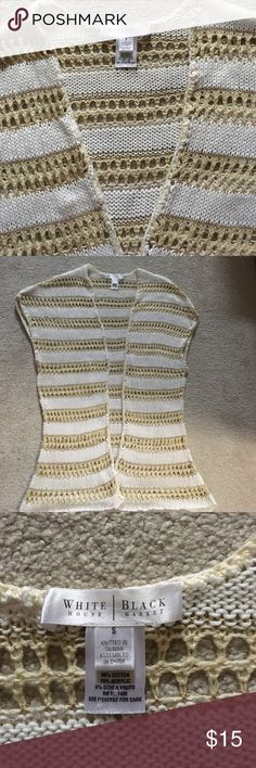White and cream vest Super feminine! With a touch of gold, this vest is one of the cutest I've seen!!! White House Black Market Jackets & Coats Vests