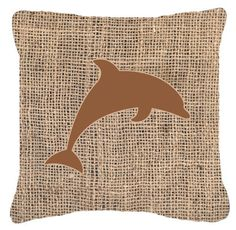 Dolphin Burlap and Brown Canvas Fabric Decorative Pillow BB1025