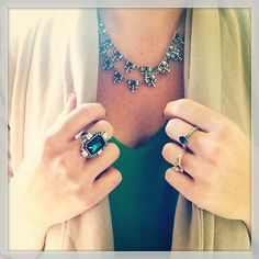 Our Jardins du Trocadéro Two-Row Necklace + Statement Ring, as styled by Carrie!