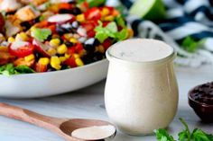 Chipotle Ranch Dressing in a jar with a spoon next to it and a Southwest chicken salad behind it. Chipotle Ranch Dressing, Ranch Dressing Recipe, Ranch Recipe, Lime Dressing, Homemade Chipotle, 5 Minute Meals, Southwest Chicken, Drying Dill, Everyday Dishes